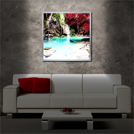 Tablou iluminat LED cu rama metalica Waterfall in the Woods (60 x 60 cm)
