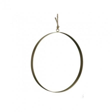 Cerc metalic decorativ, auriu, 25x2 cm