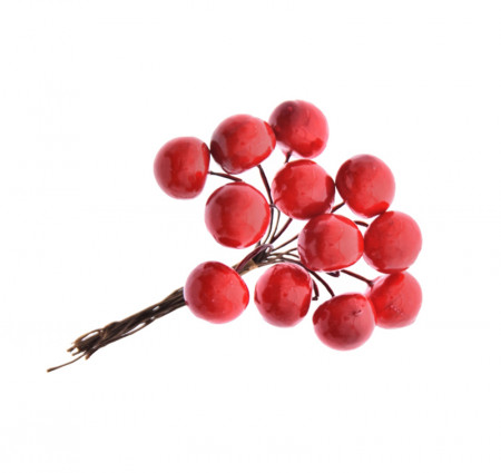 Decoratiune brad manunchi 12 bobite rosii
