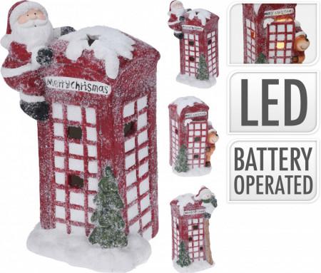 Decoratiune ceramica, cabina telefonica, Santa, 31 cm, LED