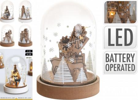 Dom de sticla cu scena xmas, LED, 13 cm