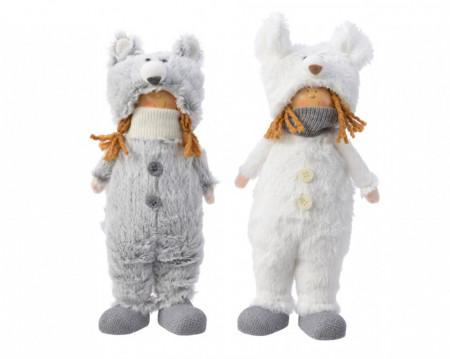 Figurina textila, copil caciulita ursulet, 28 cm