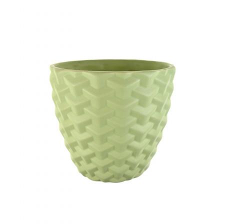 Ghiveci ceramica, model, verde, 14x13cm