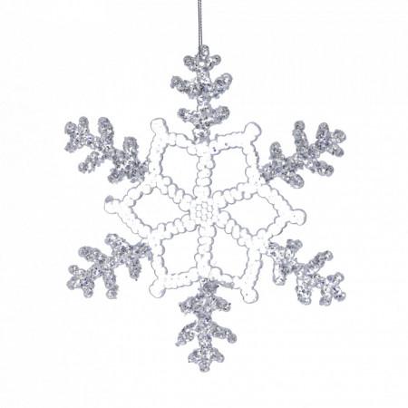 Ornament, fulg de nea, cu sclipici, 25cm