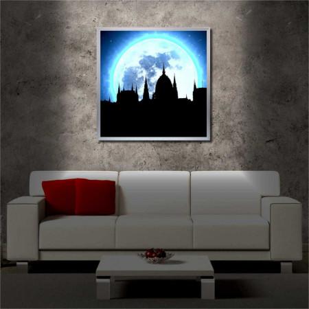 Tablou iluminat LED cu rama metalica Black Castle (60 x 60 cm)