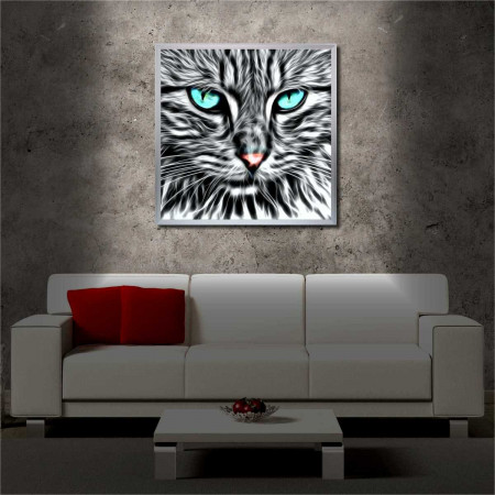 Tablou iluminat LED cu rama metalica Cat Eyes (60 x 60 cm)