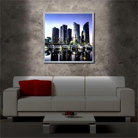 Tablou iluminat LED cu rama metalica CityScape (60 x 60 cm)