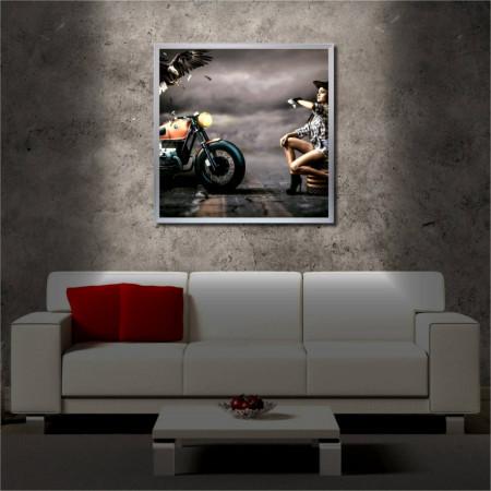 Tablou iluminat LED cu rama metalica Crow and Motorcycle (60 x 60 cm)