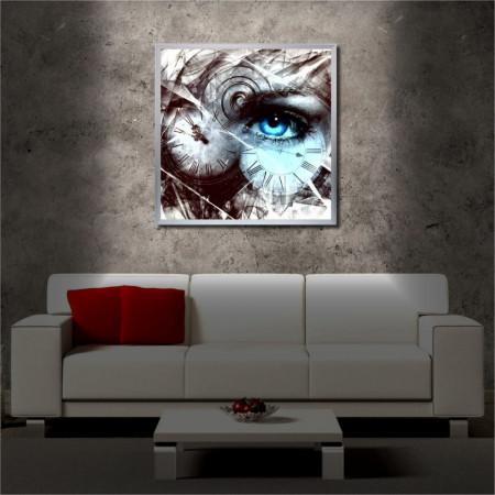 Tablou iluminat LED cu rama metalica Eye & Clock (60 x 60 cm)