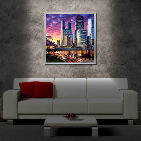 Tablou iluminat LED cu rama metalica Moscow in the Evening (60 x 60 cm)