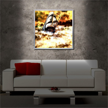Tablou iluminat LED cu rama metalica Ship in Danger (60 x 60 cm)