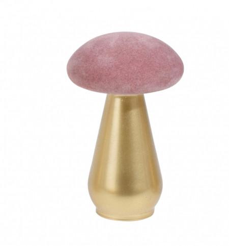 Decoratiune ciuperca, de sticla/catifea, roz, 12 cm