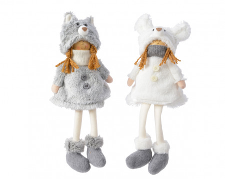 Figurina textila, copil caciulita ursulet, 33 cm