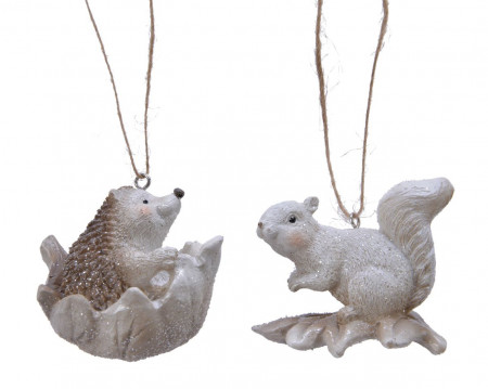 Ornament cu agatatoare, animalut pe frunza, 6 cm