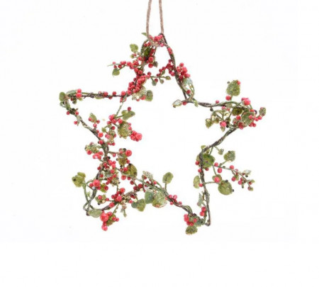 Ornament stea decorativa, rosu/verde, 15x15 cm