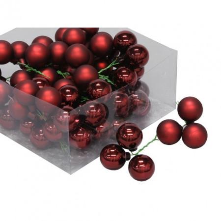 Set 72 globuri sticla, rosii, 3 cm