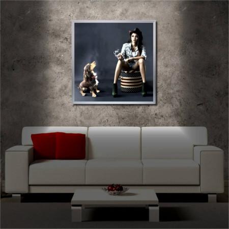 Tablou iluminat LED cu rama metalica Lady & Dog (60 x 60 cm)