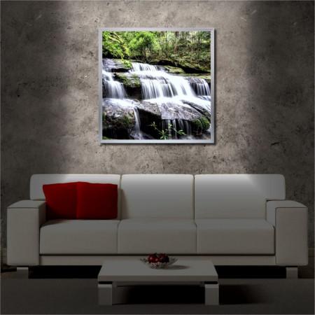 Tablou iluminat LED cu rama metalica Waterfall 3 (60 x 60 cm)