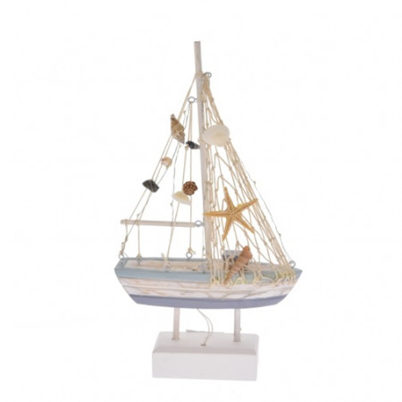 Decoratiune barca, lemn 18x5.5x32 cm