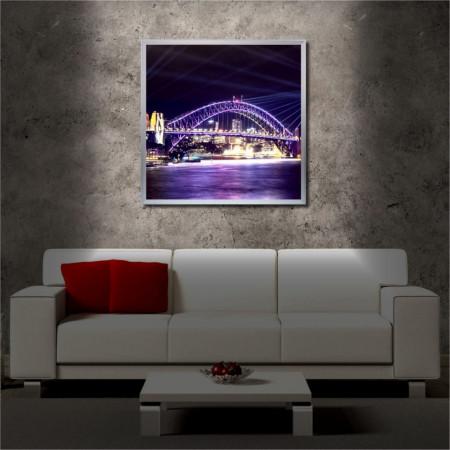 Tablou iluminat LED cu rama metalica Shining Bridge (60 x 60 cm)