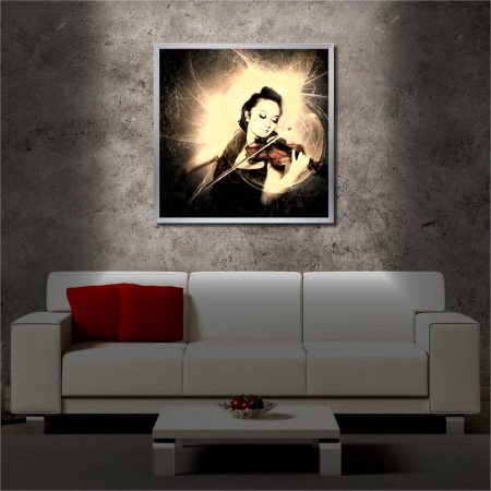 Tablou iluminat LED cu rama metalica Violin (60 x 60 cm)