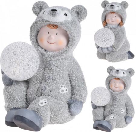 Figurina, copil in costum de ursulet, cu LED, 17 cm