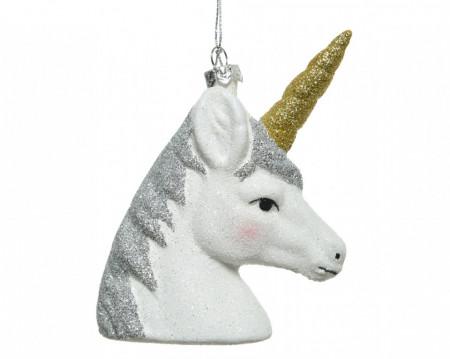 Figurina unicorn alb, cu agatatoare, 11.5 cm