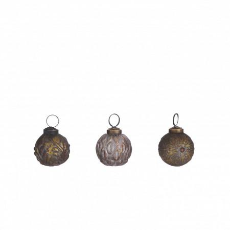 Glob de sticla, auriu/maro antic, 5 cm
