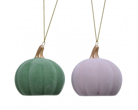 Ornament cu agatatoare, dovleac, ceramica, 7 cm