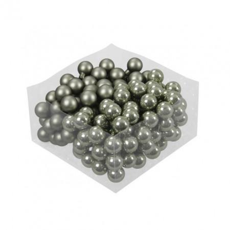 Set 144 globuri sticla verde granit, mix mat/lucios, 2.5 cm