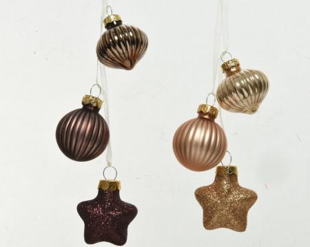 Set globuri aurii/maro, tip ghirlanda, 4 cm