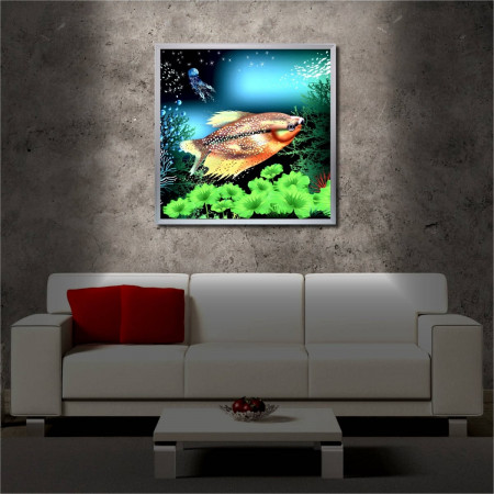 Tablou iluminat LED cu rama metalica Fish (60 x 60 cm)