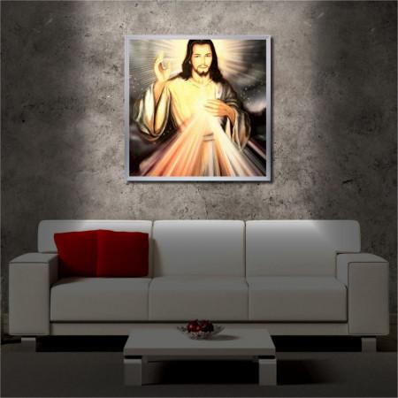 Tablou iluminat LED cu rama metalica Love of Jesus (60 x 60 cm)