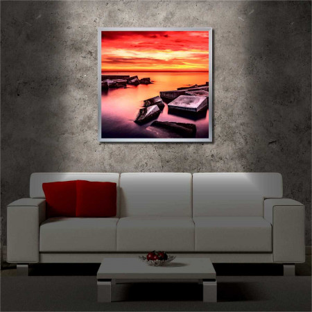 Tablou iluminat LED cu rama metalica The Spell of the Sunset (60 x 60 cm)