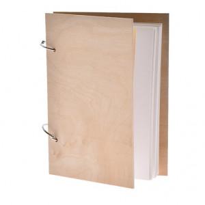 Agenda, coperta de lemn, natur, 15x21cm
