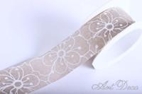 Banda textila, alb, model floral, 38mm x 10m