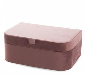 Caseta pentru bijuterii, invelis catifea roz, 8,5x21,5x14 cm
