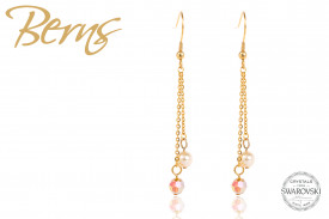 Cercei, 2 cristale Swarovski, auriu, suflati cu aur 14k, 6mm