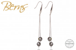 Cercei, 2 cristale Swarovski, negru/argintiu
