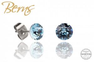 Cercei, cristale Swarovski, albastru, diametru 6mm