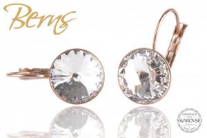Cercei, cristale Swarovski, cu agatatoare, rosegold
