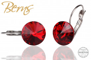Cercei, cristale Swarovski, cu agatatoare, rosu, diametru 12mm