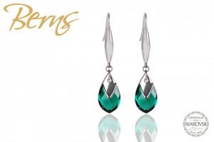 Cercei, cristale Swarovski, forma lacrima, verde