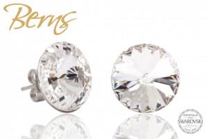 Cercei, cristale Swarovski, forma rotunda, diametru 14mm