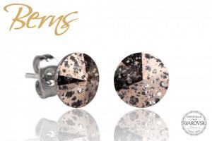 Cercei, cristale Swarovski, maro, cu model, diametru 8mm