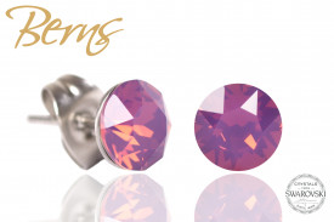 Cercei, cristale Swarovski, mov, diametru 6mm