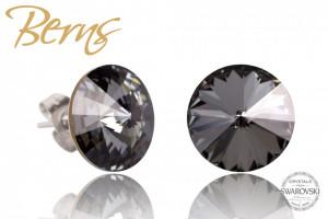Cercei, cristale Swarovski, negru, diametru 12mm