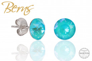 Cercei, cristale Swarovski, turcoaz, diametru 8 mm