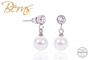 Cercei, perle + cristale Swarovski, alb, 8 mm