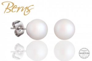 Cercei, perle Swarovski, alb, diametru 8mm